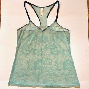 Lucky Brand Lounge Lace Print Sheer Tank Top Sz XL
